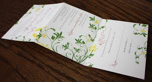 folding wedding invitations yellow bird tri panel invitations and programs emdotzee designs