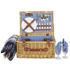 deluxe 2 person wicker picnic basket hamper set with flatware and