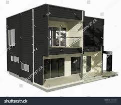 3d model twostory wooden house on stock illustration 133245686