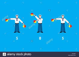 Semaphore Flag Flat Design Sailors Waving Sos With Signal Flags From Flag