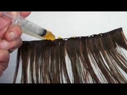 glue in extensions hair extensions using liquid gold glue with syringe