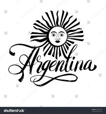 Argentina Flag Face Argentina Lettering Hand Lettering Logo Watercolor Stock Vector