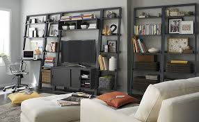 White Leaning Bookshelves by Bookcase Decorating Ideas Crate U0026 Barrel Blog
