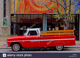 wooden truck bright red orange chevy pickup truck with wooden bed railing