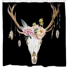 Deer Shower Curtains Deer Skull Shower Curtain U2013 Sharp Shirter