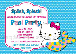 kitty printable pool party birthday invitation mermaid