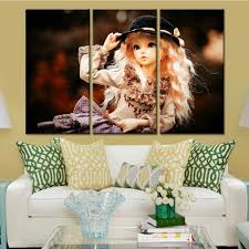 3 pieces barbie doll canvas painting wall picture kids room