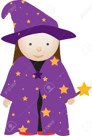 purple wizard costume dresserd up as a cute wizard in costume royalty free cliparts
