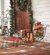 Metal Outdoor Decorations For Christmas by Outdoor Sleigh Decoration Foter