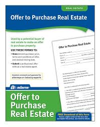 offer to purchase real estate forms and instructions