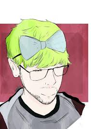 with super bright green hair and a bow on head