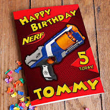 nerf personalised birthday card free 1st class shipping high