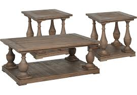 Rustic Living Room Table Sets River Brown 3 Pc Table Set Table Sets Wood