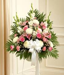 roses and lilies pink white flower sympathy standing basket at from you flowers