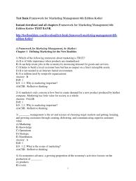 test bank framework for marketing management 6th edition kotler