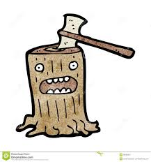 cartoon axe in tree stump stock image image 38066281