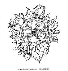 vector black white flowers vector coloring stock vector 459449734