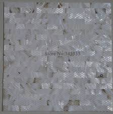 white groutless brick shell mosaic tile mother of pearl decoration