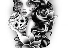 custom gypsy and sugar skull tattoo design katehelenmuir