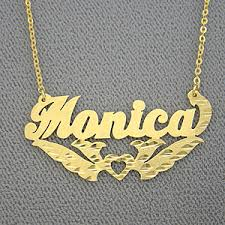 Personalized Pendant Necklace Name Necklace Monica Personalized Gold Jewelry