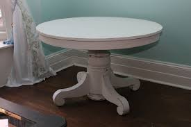 Custom Order Antique Dining Table White Distressed Shabby Chic - Round pedestal dining table in antique white