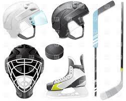 goaltender helmet hockey sticks skate and puck royalty free
