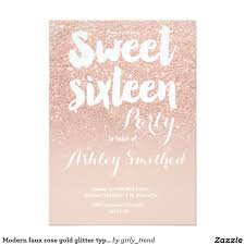 modern faux rose gold glitter typography sweet 16 card rose gold