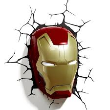Iron Bedroom Wall Lamps Iron Man Helmet 3d Wall Light For Sale Lolcoolstuff Com