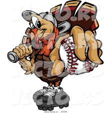 picture of a cartoon turkey for thanksgiving vector of a cartoon turkey mascot holding out a baseball by