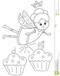 hand drawn coloring page of a fairy with cupcakes stock