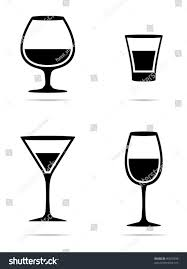 margarita silhouette icons glass wine glasses brandy whiskey stock vector 96019538