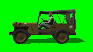 willys jeep truck green willys jeep drive side view green screen youtube
