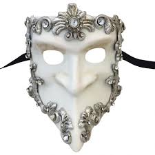 venetian masks mask in london for him white and silver baroque bauta