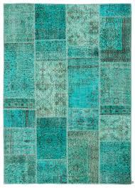 Vintage Overdyed Turkish Rugs K0021747 Turquoise Over Dyed Turkish Patchwork Rug Kilim Rugs