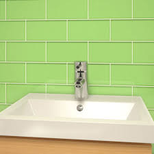 glass subway tile powder room green 3