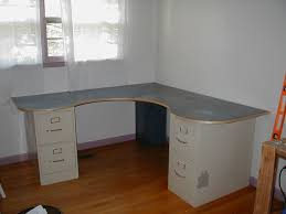 Diy Desk With File Cabinets Wraparound Desk Made From One Sheet Of Plywood 2 Filing Cabinets