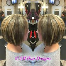 uneven bob for thick hair gray coverage medium blonde caramel swing bob inverted bob thick