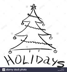pencil sketch of christmas tree with ornaments stock photo