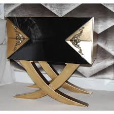 Gold Bedside Table High Gloss Black Bedside Table With Cross Legs And Antique Gold
