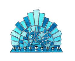 ceramic menorah stained glass menorah made