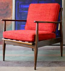 Midcentury Modern Armchair - red reupholstered midcentury modern chair design mid century