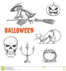 flying witch halloween decoration halloween decoration symbols in pencil sketch stock vector image