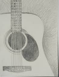 drawn guitar graphite pencil and in color drawn guitar graphite