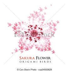 origami gabbiano origami voler fleur oiseaux form礬 illustration vectorielle