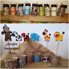 jungle baby shower decorated tin cans shower ideas pinterest