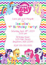 free rainbow birthday invitations free printable my little pony birthday invitations drevio