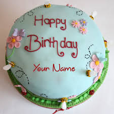 write name on vanilla madeira sponge birthday cake