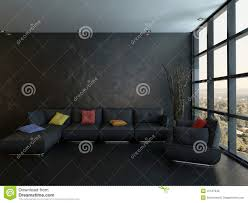 Wohnzimmer Einrichten Mit Schwarzer Couch Schwarze Couch Mit Bunten Kissen Gegen Hölzerne Wand Stock