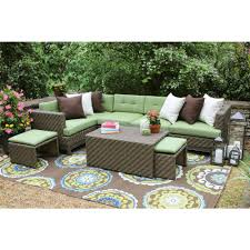 Hampton Bay Palm Canyon Replacement Cushions Hampton Bay Granbury 6 Piece Metal Outdoor Sectional With Fossil