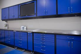 garage blue cabinet storage with floor tiles also and lighting garage blue cabinet storage with floor tiles also and lighting design